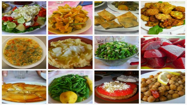 Collage Greek dishes